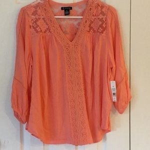 New directions PL tangerine peasant blouse
